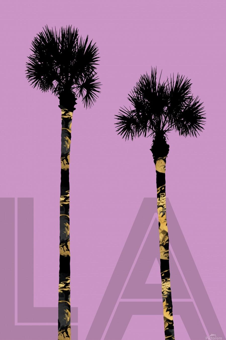 Graphic Art PALM TREES LA | pink  Print