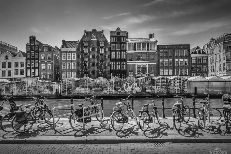 AMSTERDAM Singel Canal with Flower Market | monochrome  Print