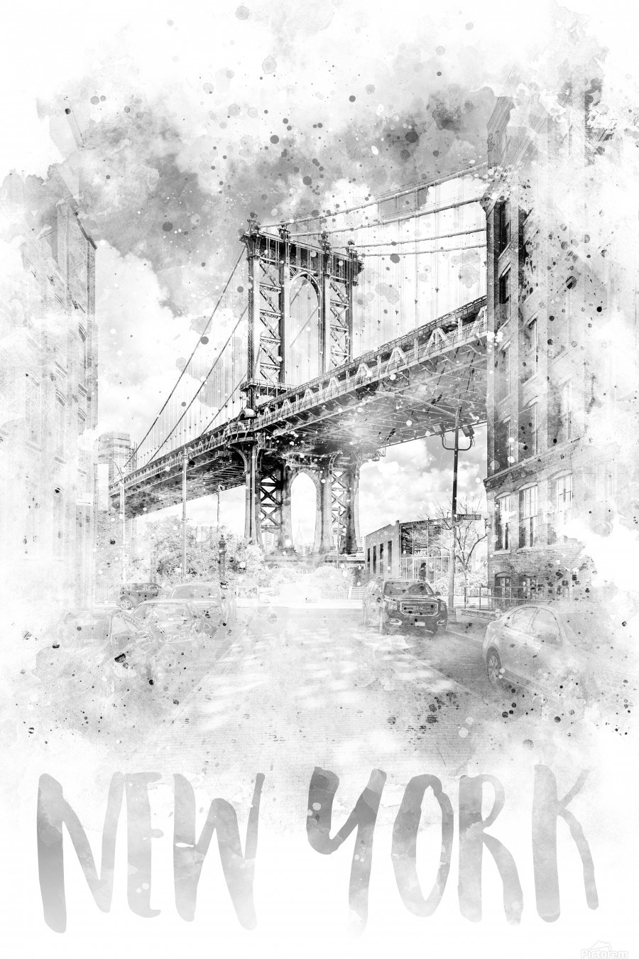 Monochrome Art NYC Manhattan Bridge | watercolor  Print