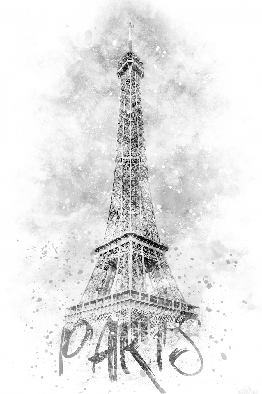 Monochrome Art EIFFEL TOWER | watercolor  Print
