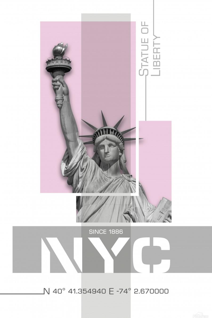 Poster Art NYC Statue of Liberty | light pink  Print