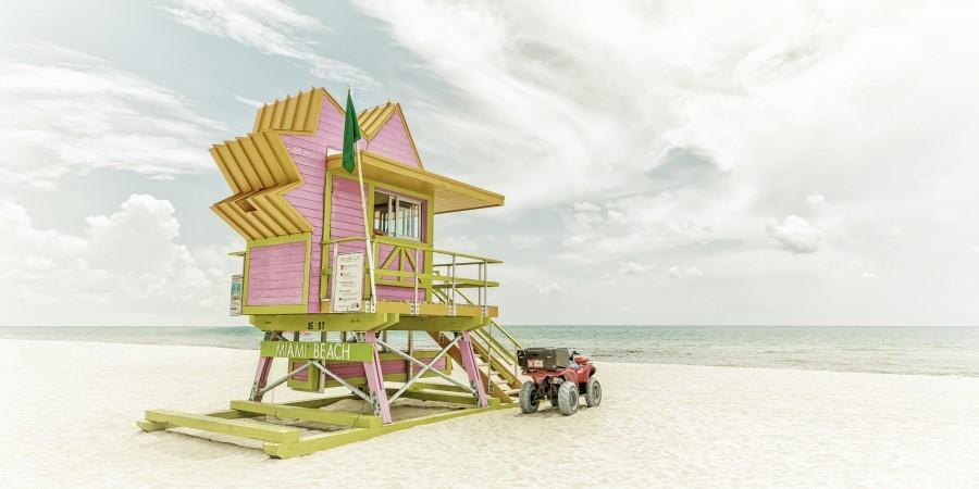 MIAMI BEACH Florida Flair | Vintage Panorama  Print