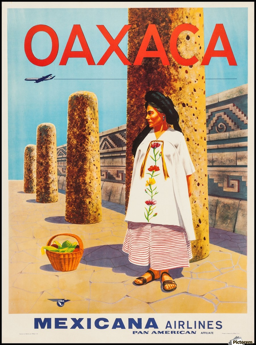 mexicana airlines oaxaca travel poster vintage poster canvas