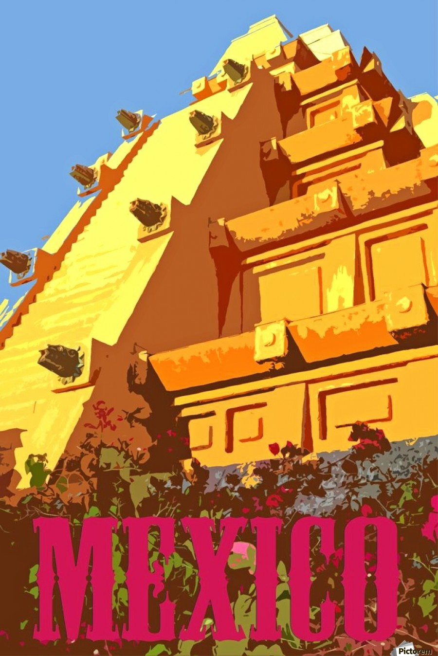Mexico City vintage travel poster  Print