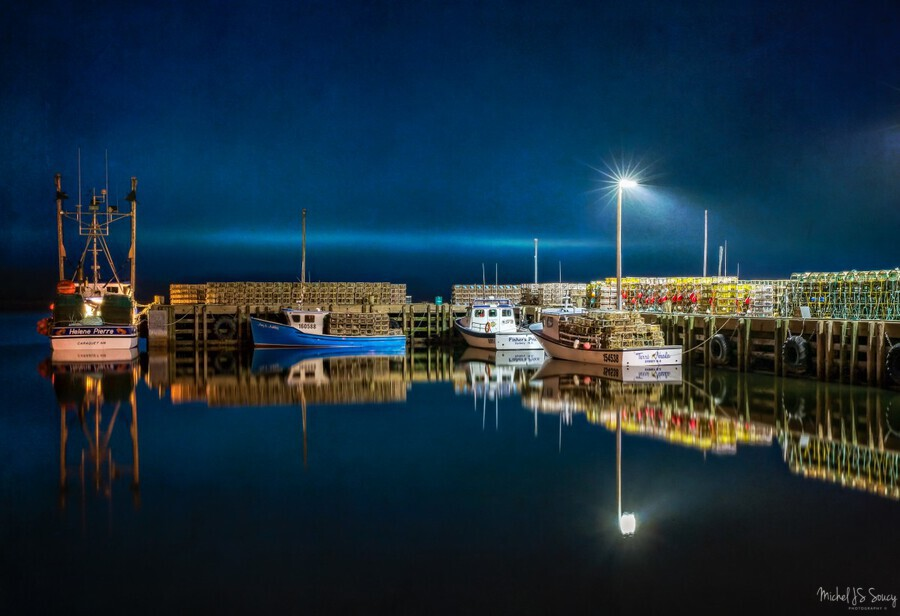 NIGHT TIME AT THE WHARF with textures  Print