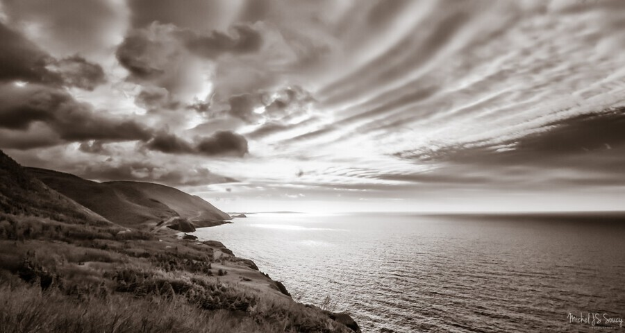 Breakthrough Skies , Michel Soucy , 830nm,B&W,Black and White,CBHNP,Cabot Trail,Cap Rouge,Cape Breton,Cape Breton Highlands National Park,Cape Breton Island,Cheticamp,Deep B&W Infrared,Michel (Mike) Soucy,Michel Soucy,Nova Scotia,b/w,bright,bw,clouds,cloudy,coastal,coasts,glowing,glows,highland mountains,infrared,light,michelsoucy,monotone,mountains,nature,ocean,outdoors,overcast,scenic,scenics,sea,seascape,seascapes,skies,sky,trees,whispy clouds,