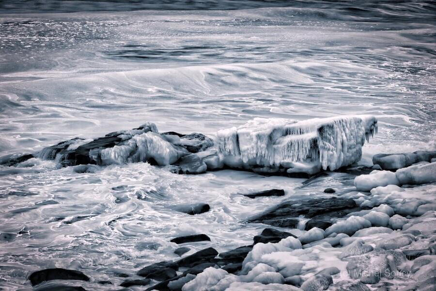Ice Blue , Michel Soucy , ice,encrusted,cold,cool,blue,blues,icicles,Cheticamp,Cape Breton,Cheticamp Harbour,freezing,frozen,rocks,shore,coastal,coast,winter,seasonal,winter seascape,winter seascapes,michelsoucy,Michel Soucy,rocky,shoreline,photography