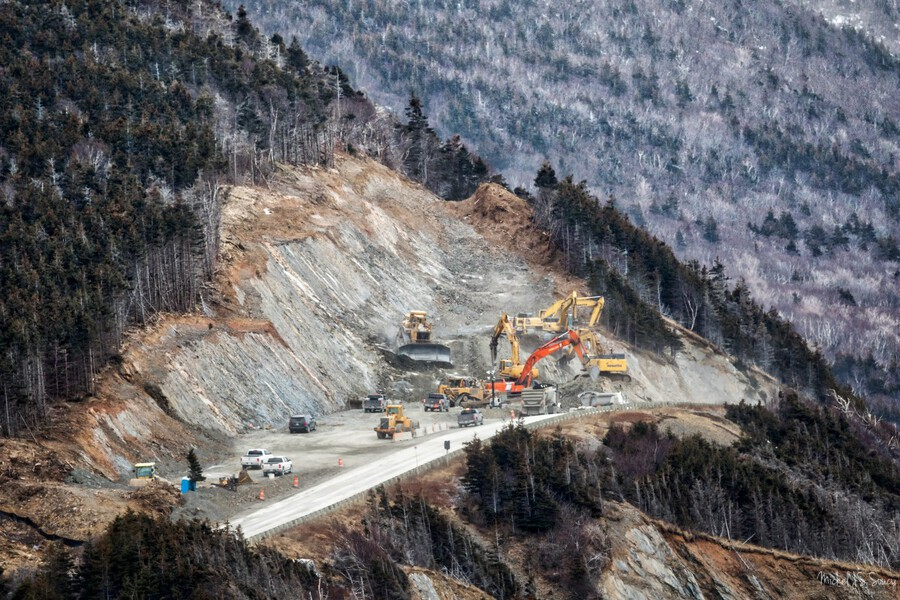 Mountain Moving , Michel Soucy , 2016, bulldozer, bulldozers, Cabot Trail, Cape Breton, Cape Breton Island, CBHNP, Cheticamp, clearing, cliff, cliffs, construction, Corney Brook, cutting, equipment, erosion, excavator, excavators, heavy duty, Michel Soucy, michelsoucy, Nova Scotia, outdoors, repairs, road, Road Realignment Project, road repair, road work, rocks, Trout Brook, workers
