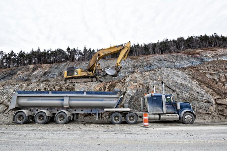 A2865_H , Michel Soucy , Cabot Trail,Cape Breton,Cape Breton Highlands National Park,Cape Breton Island,Corney Brook,Harrietha,Michel Soucy,Nova Scotia,Road Realignment Project,Rock,Trout Brook,construction,michelsoucy,truck,trucks,