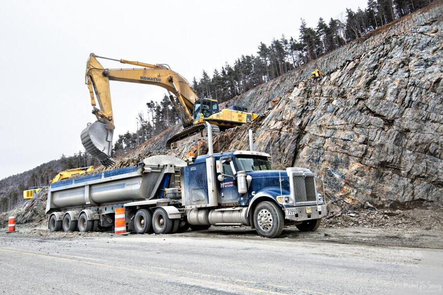Loading up , Michel Soucy , Cabot Trail,Cape Breton,Cape Breton Highlands National Park,Cape Breton Island,Corney Brook,Harrietha,Michel Soucy,Nova Scotia,Road Realignment Project,Rock,Trout Brook,construction,michelsoucy,truck,trucks,