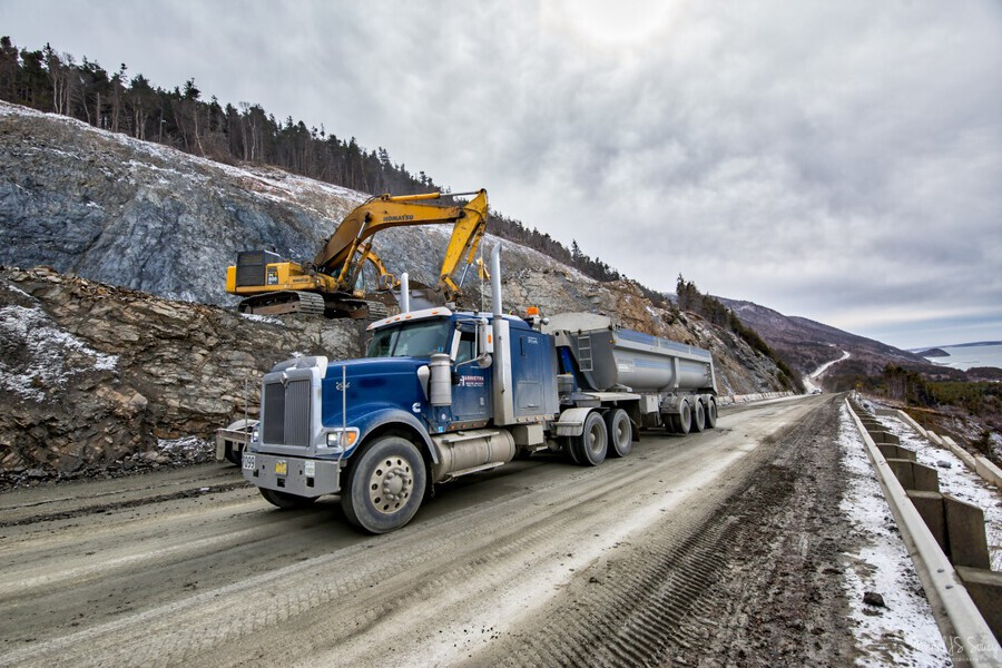 3544_H , Michel Soucy , Cabot Trail,Cape Breton,Cape Breton Highlands National Park,Cape Breton Island,Corney Brook,Harrietha,Michel Soucy,Nova Scotia,Road Realignment Project,Rock,Trout Brook,construction,michelsoucy,truck,trucks,