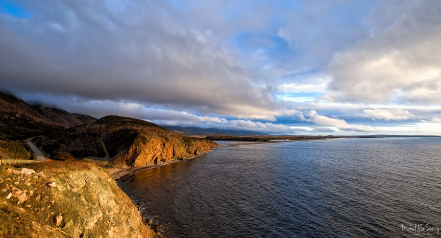 Memories , Michel Soucy , Cabot Trail,Cape Breton,Cape Breton Island,Cheticamp,La Grande Falaise,Nova Scotia,cliffs,clouds,nature,outdoors,petit etang beach,sunset,