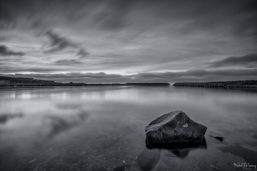 Inside the Harbour - bw , Michel Soucy , michelsoucy,Michel Soucy,Cape Breton Island,Margaree Harbor,Margaree Harbour,Nova Scotia,beach,beaches,clouds,entrance,jetty,long exposures,ocean,outdoors,rocks,sea,seascape,smooth water,sunset,surf,water,waves,