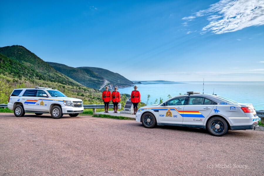 RCMP at ease with cruisers at French Mountain Monument  Print