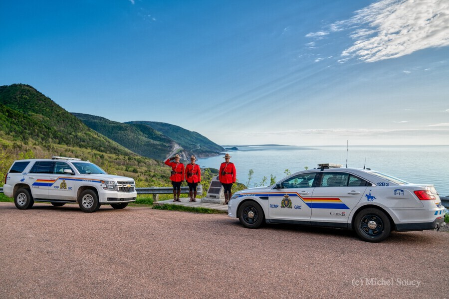 RCMP with cruisers at French Mountain Monument  Print