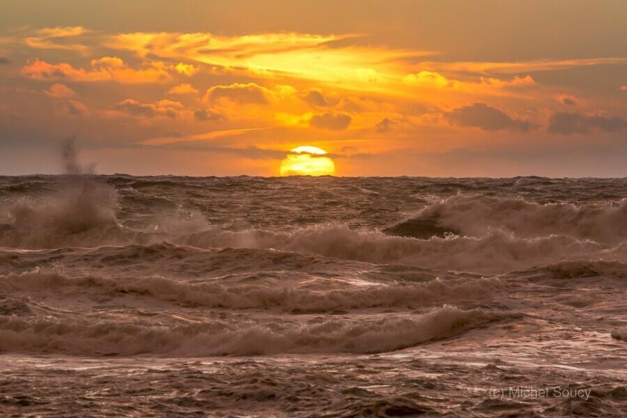 Fire & Water II , Michel Soucy , CBHNP,Cabot Trail,Cape Breton,Cape Breton Island,La Bloc,Nova Scotia,clouds,dramatic,nature,ocean,orange,outdoors,sea,seascape,stormy,sunset,surf,waves,