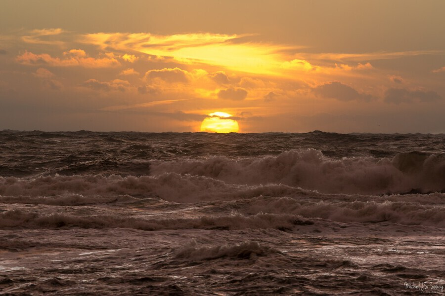 Fire & Water , Michel Soucy , CBHNP,Cabot Trail,Cape Breton,Cape Breton Island,La Bloc,Nova Scotia,clouds,dramatic,nature,ocean,orange,outdoors,sea,seascape,stormy,sunset,surf,waves,