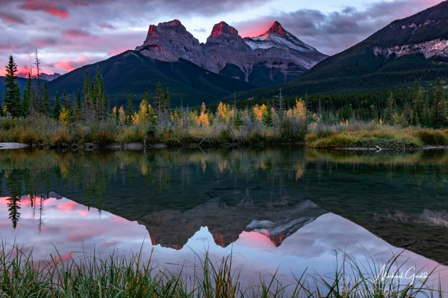 Three Sisters Fall Sunrise Canmore  Print