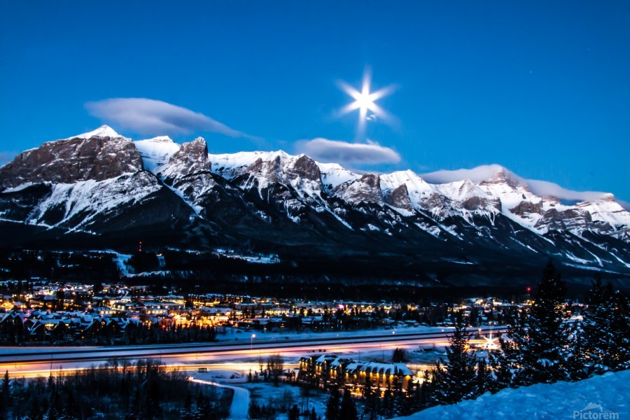 Canmore Morning Moon Over Rundle Mountain  Print