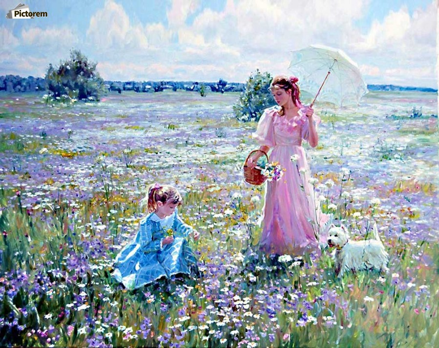 Mother And Daughter On A Field Of Flowers Alexander Averin Canvas