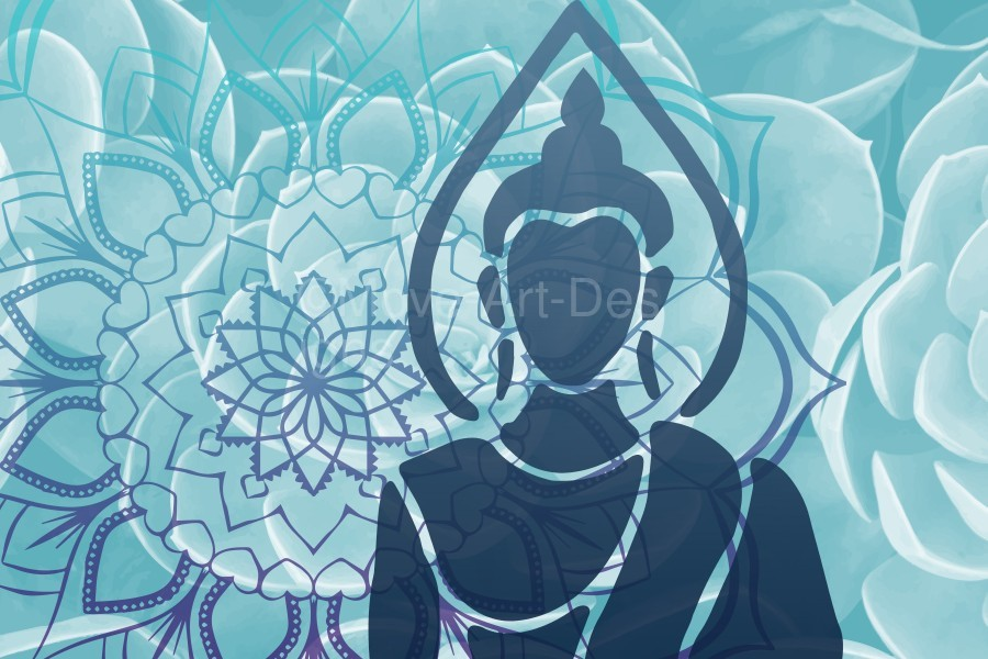 Buddha Mandala blue turqouise  Print