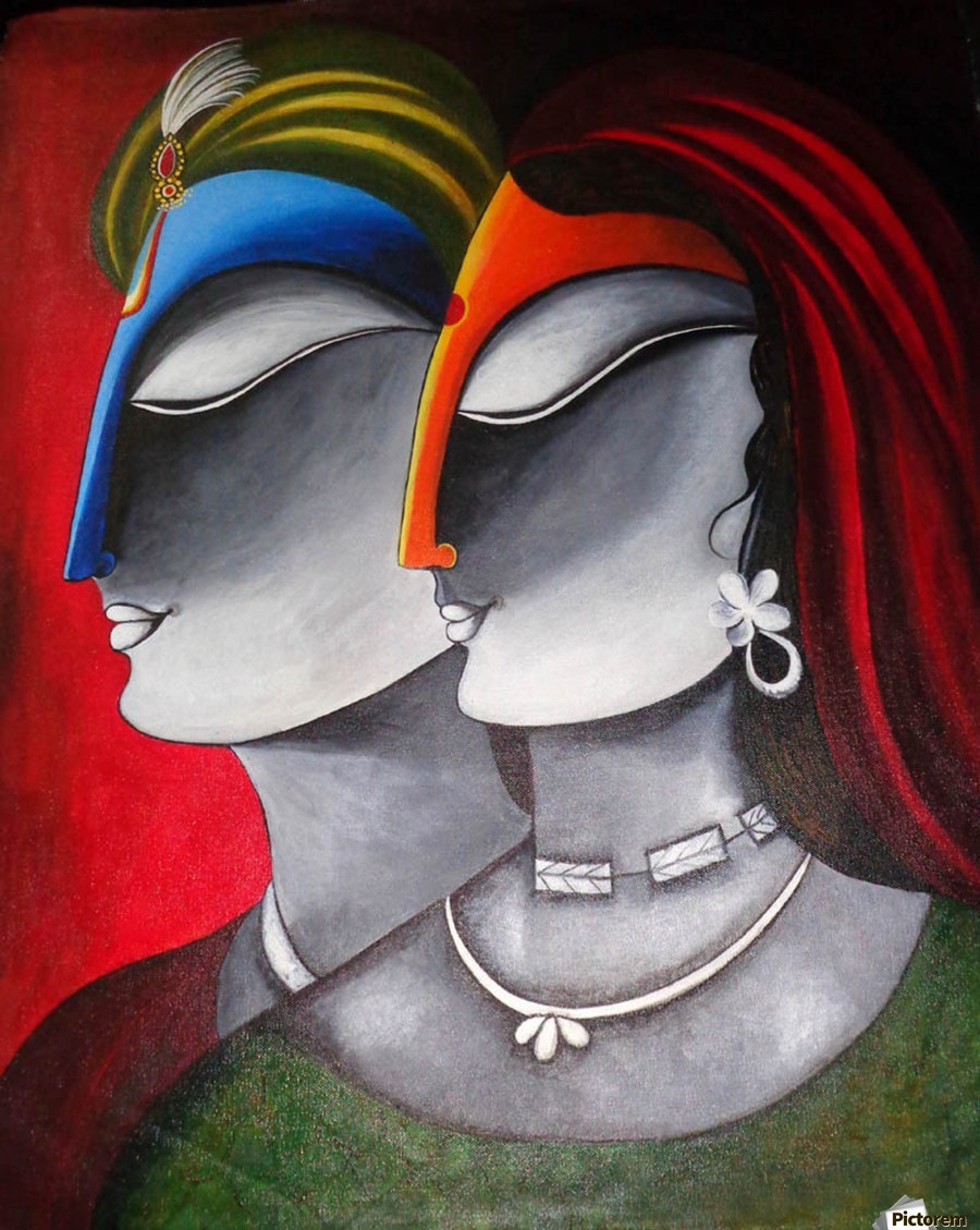 Divine Love Krishna and Radha  Print