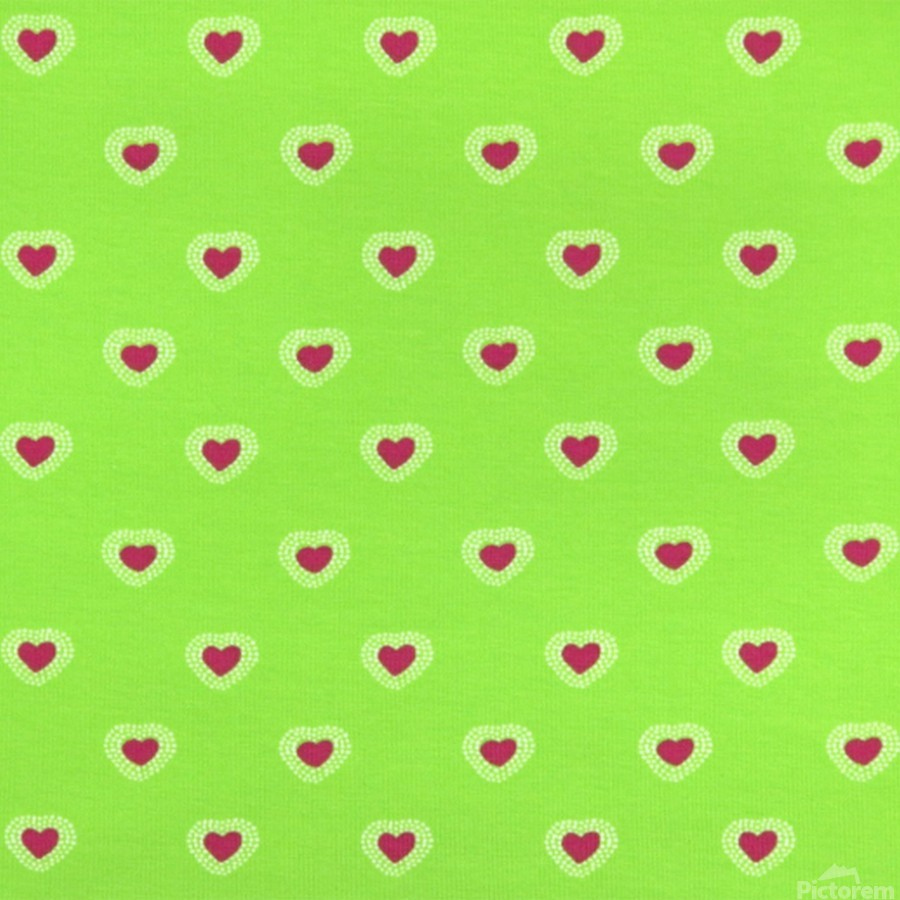 Hearts - Lime - Red  Print
