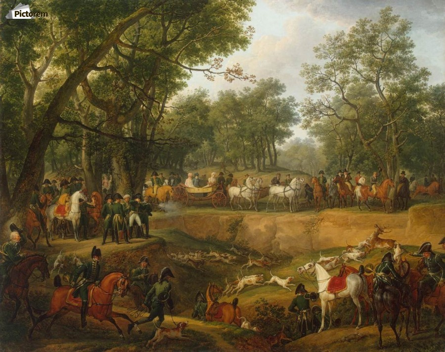 Napoleon on a Hunt in the Forest of Compiegne  Print