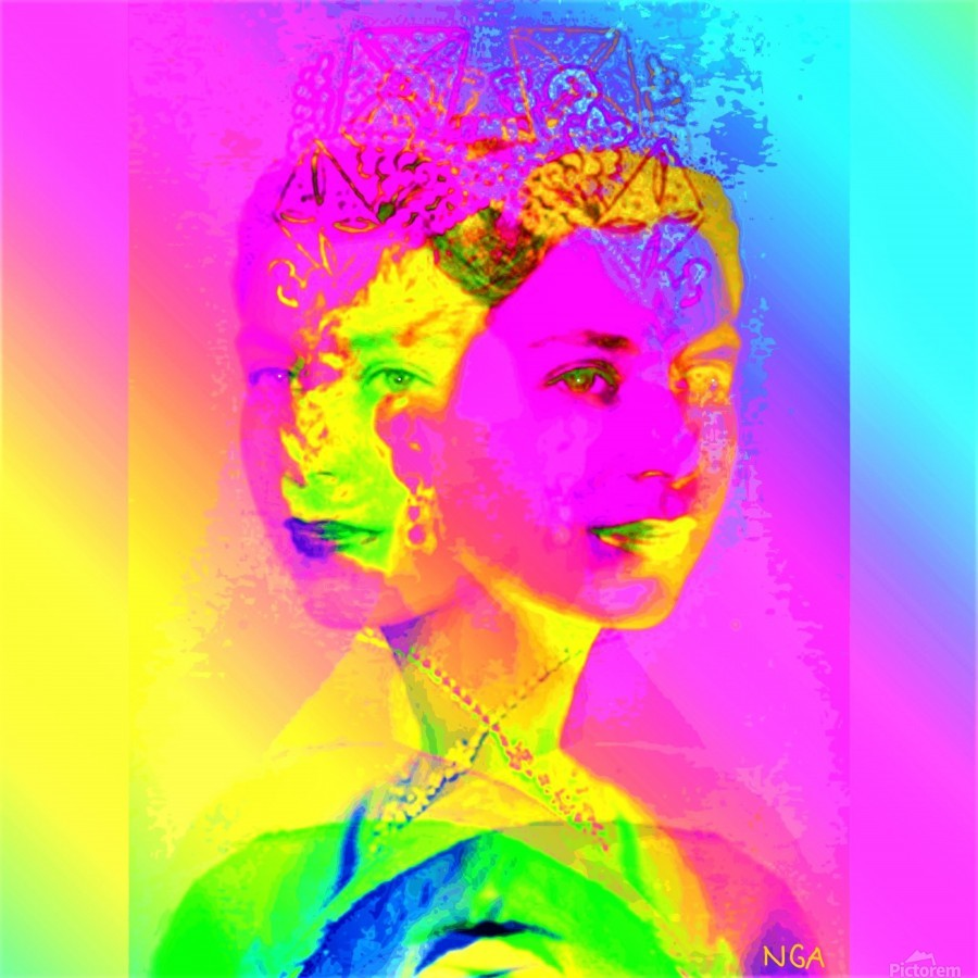 Royalty -  Queen Elizabeth by Neil Gairn Adams  Print