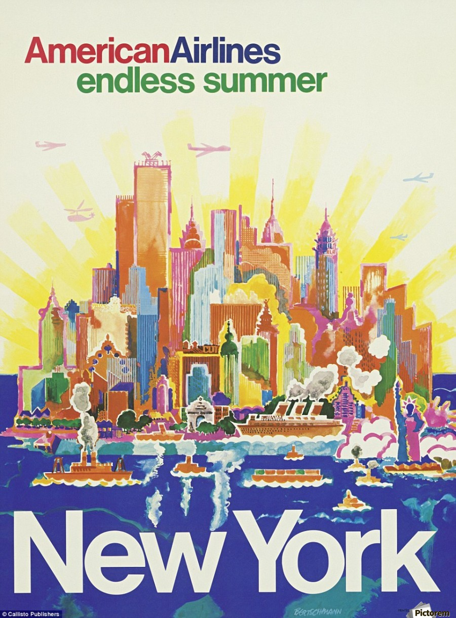 New York American Airlines endless summer travel poster - VINTAGE ...