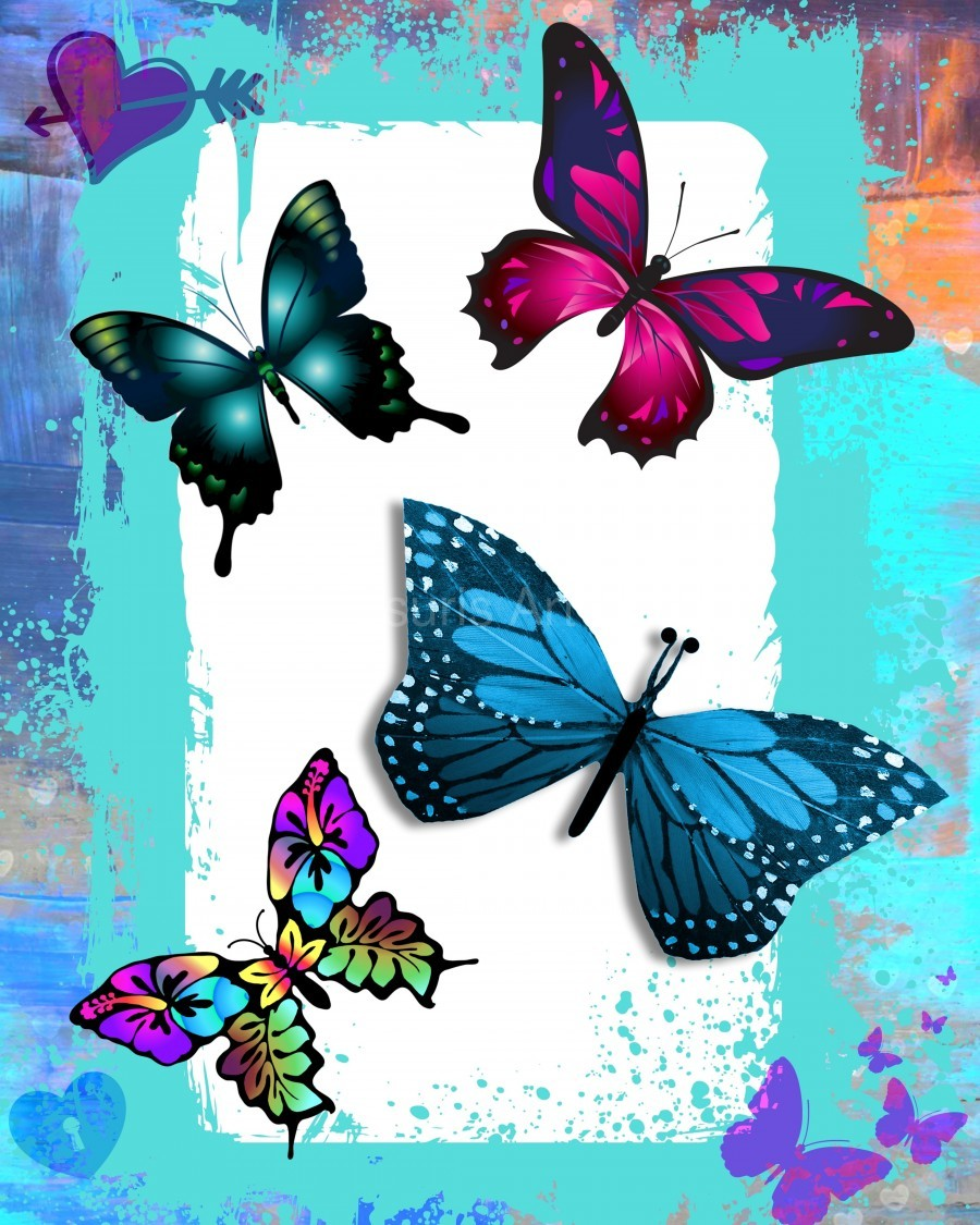 Whimsical Morpho Butterflies in Vivid Colors  Print