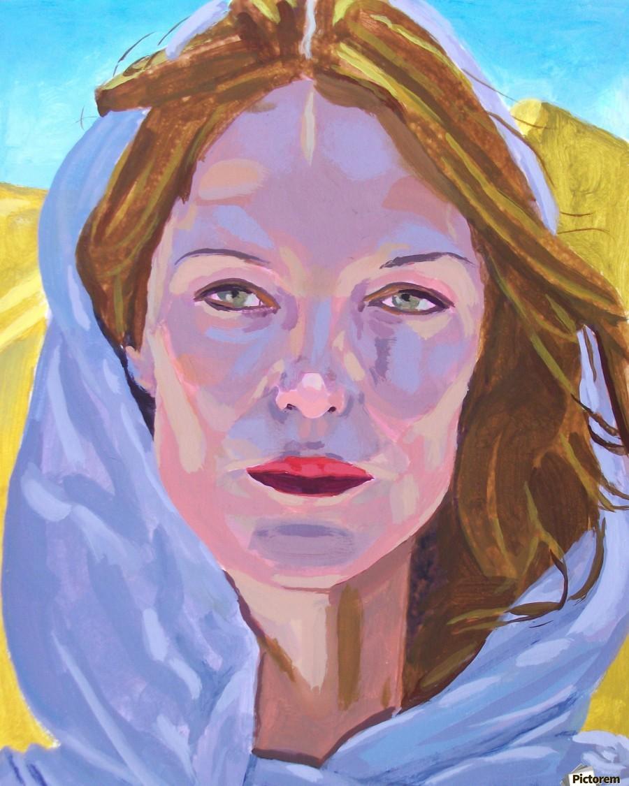 Beautiful blonde woman under a hard sun - Modern, Realism, Figurative, Portraiture, Acrylic  series  Print