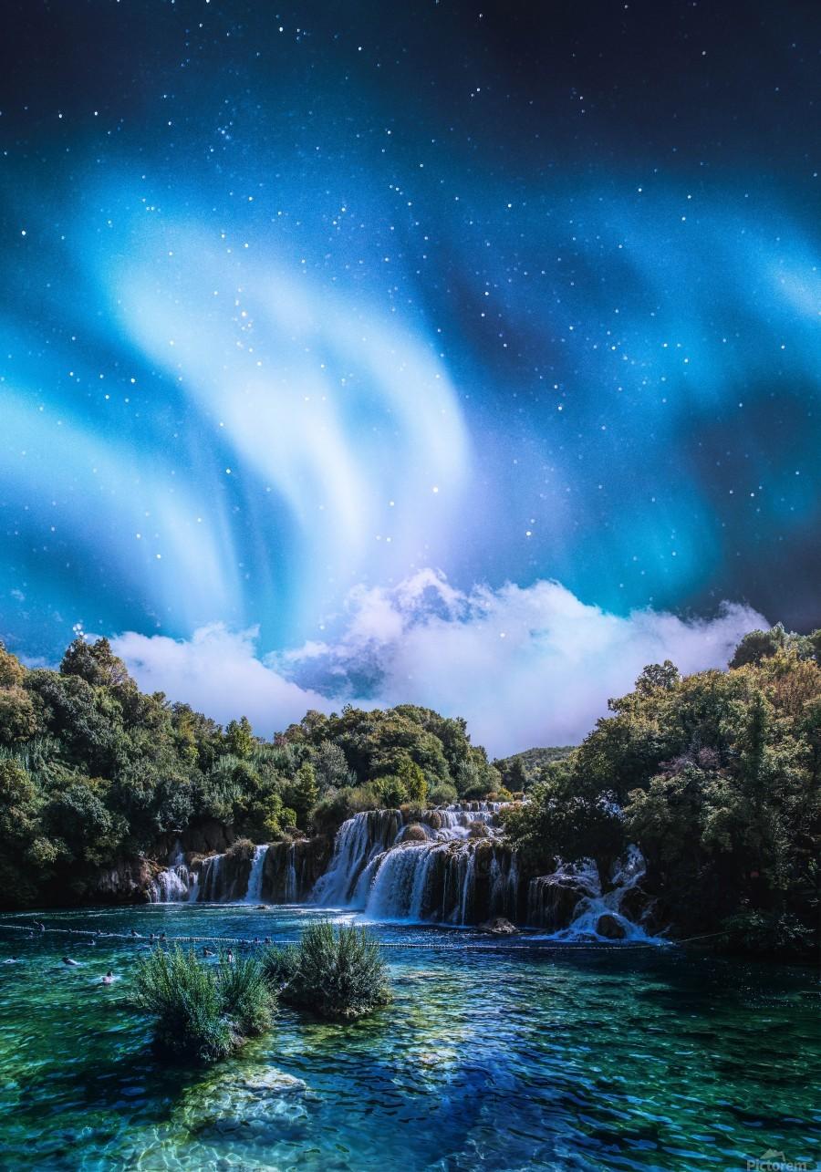 Aurora Polaris Over The Waterfall  Print