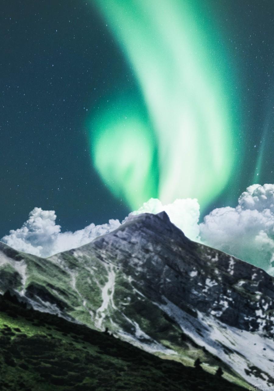 Aurora Borealis Over The Mountain  Print