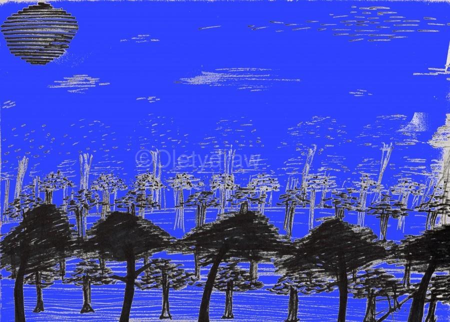 Trees vs sun blue  Print