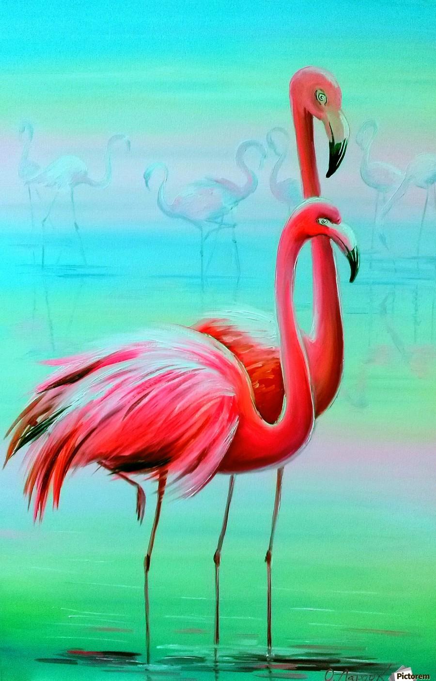 Фламинго на рассвете   Print