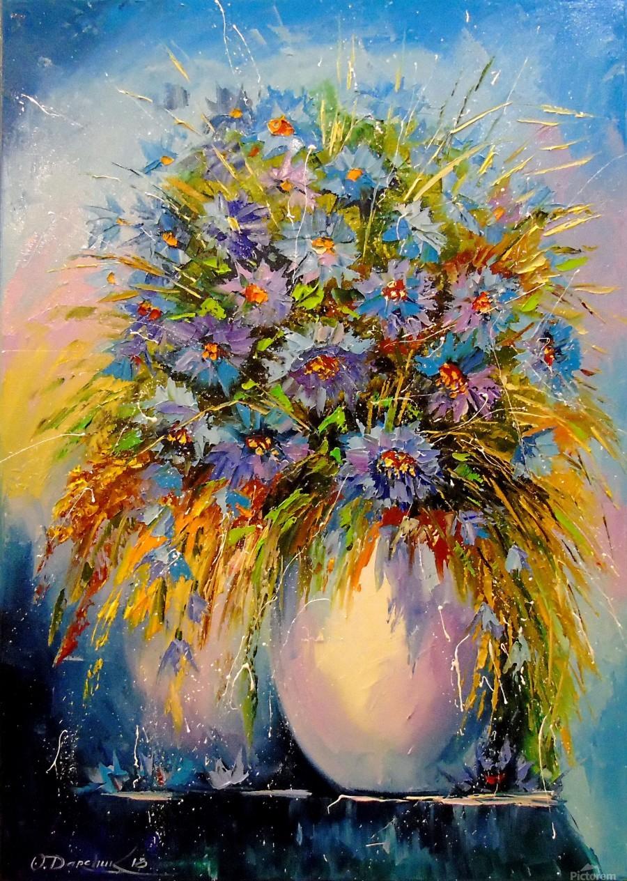 A bouquet of blue flowers  Print