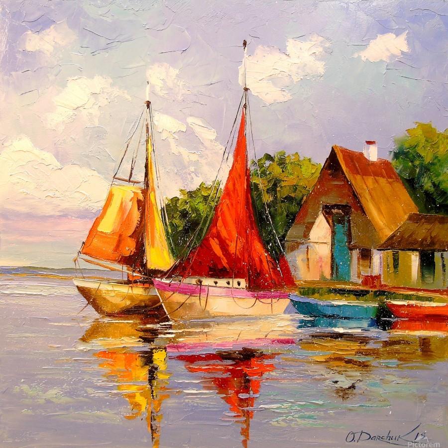 Sailboats near the shore  Print