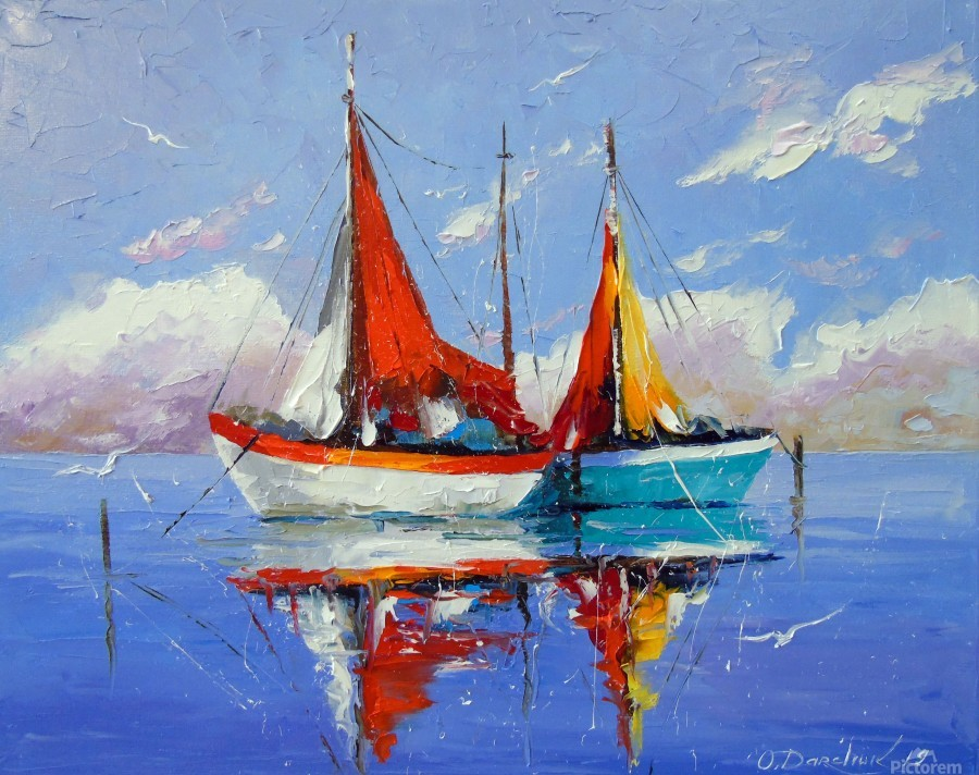 Sailboats in the sea  Print