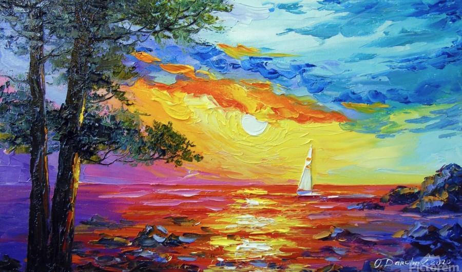 Sailboat at sunset   Print