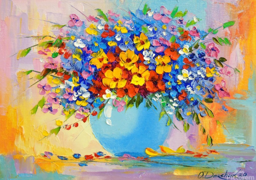 A bouquet of bright flowers  Print