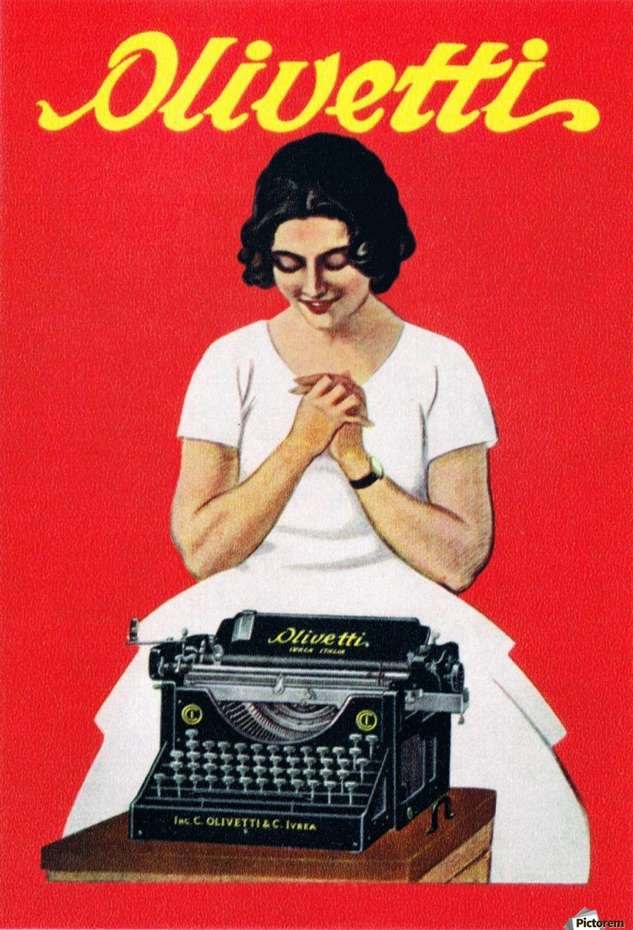 Olivetti writing machine poster - VINTAGE POSTER Canvas