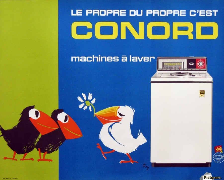 Original Appliance Poster, Conord Birds, 1960  Print