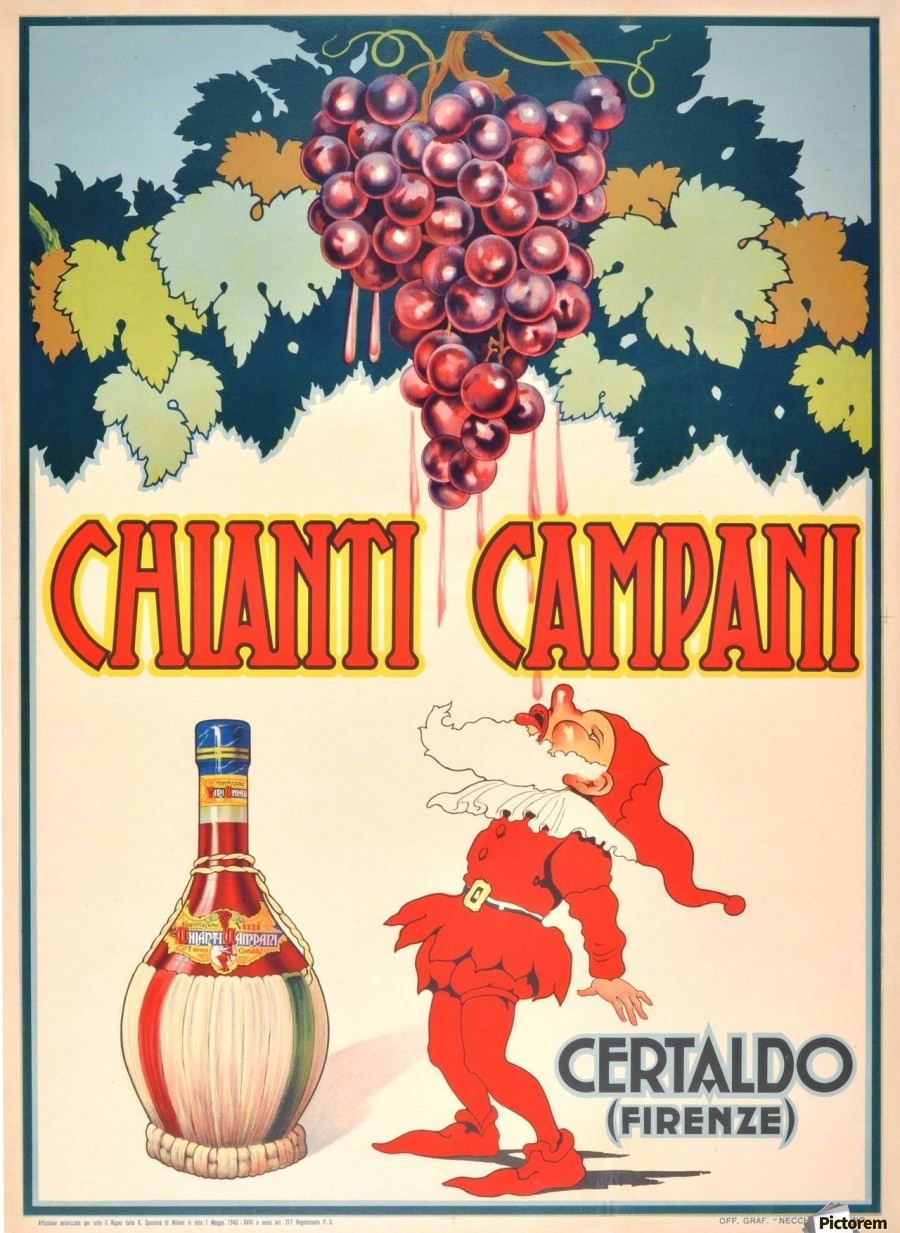 Original Vintage 1940 Advertising Poster For Chianti Campani Acrylic Print Canvas