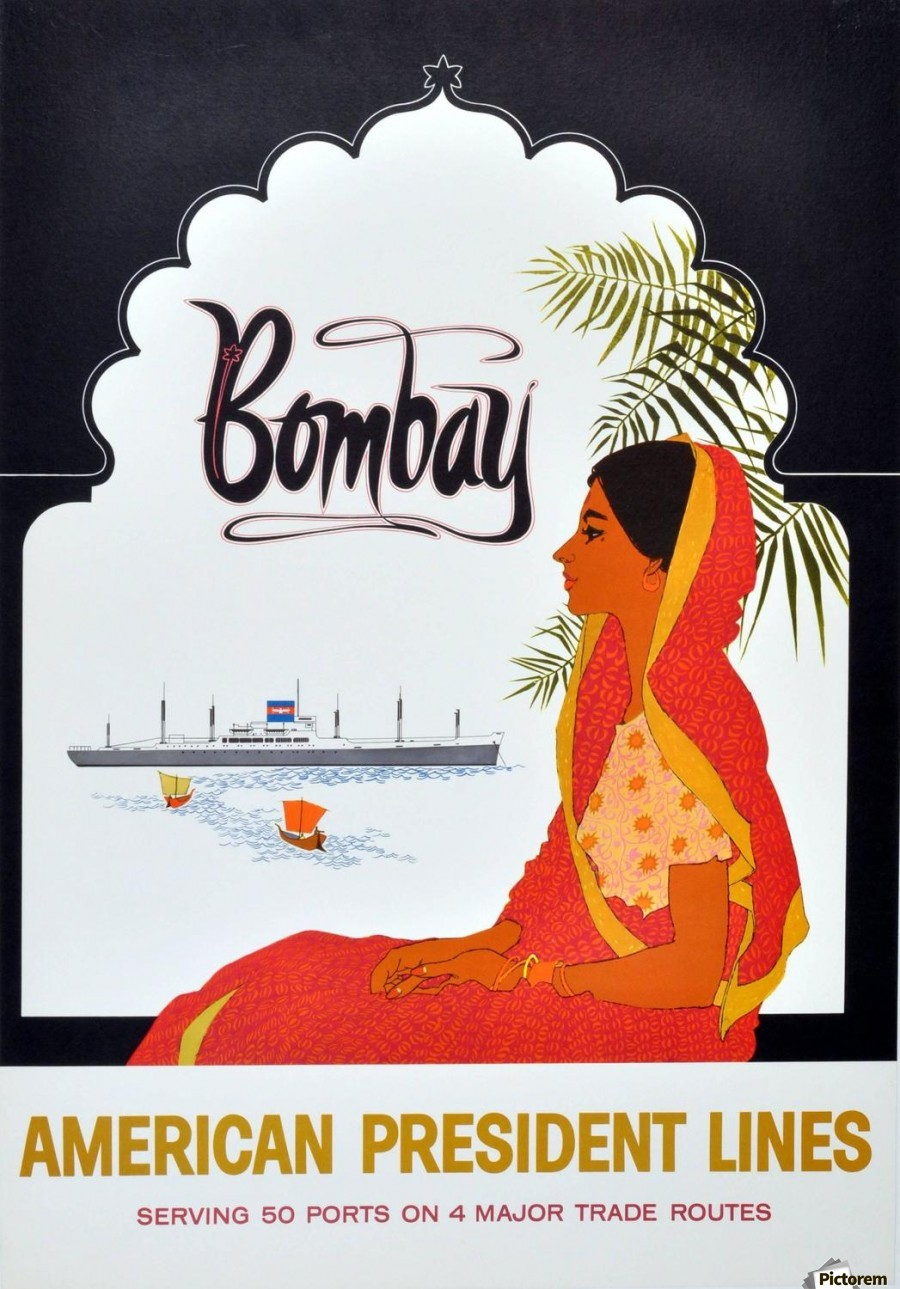Poster design 1950 - Original Vintage 1950 Cruise Travel Poster Bombay By American President Lines