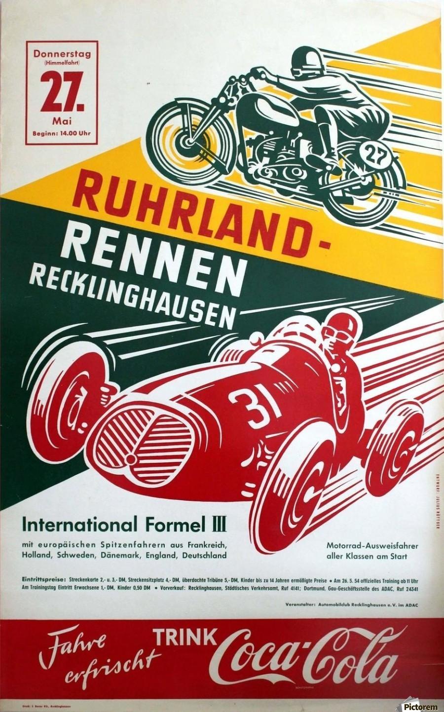 Original Vintage Car and Motorcycle Racing Poster - VINTAGE POSTER ...