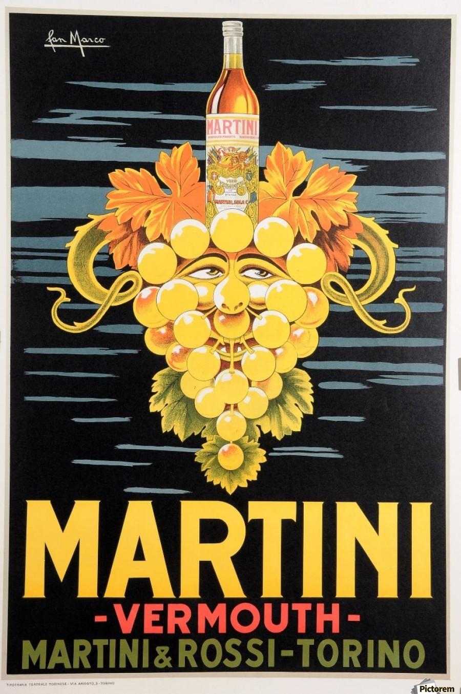 Original Vintage Italian Poster Advertising Martini Vermouth By Pan