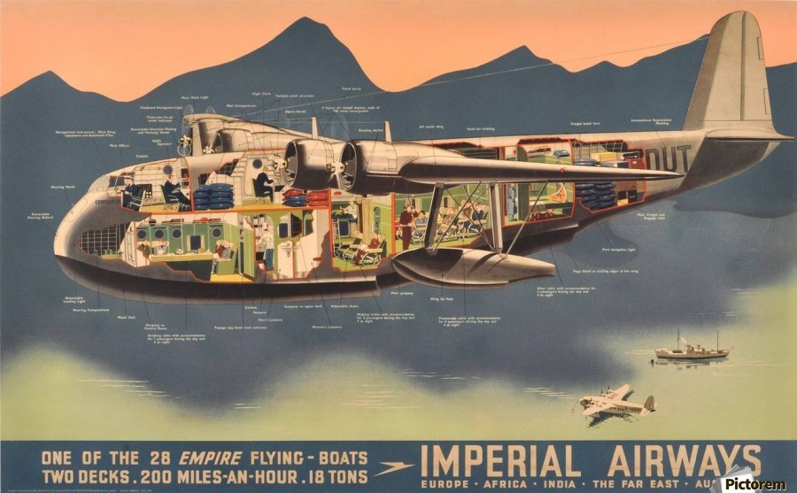 Original Vintage Travel Advertising Poster for Imperial Airways Empire -  VINTAGE POSTER - Canvas Artwork