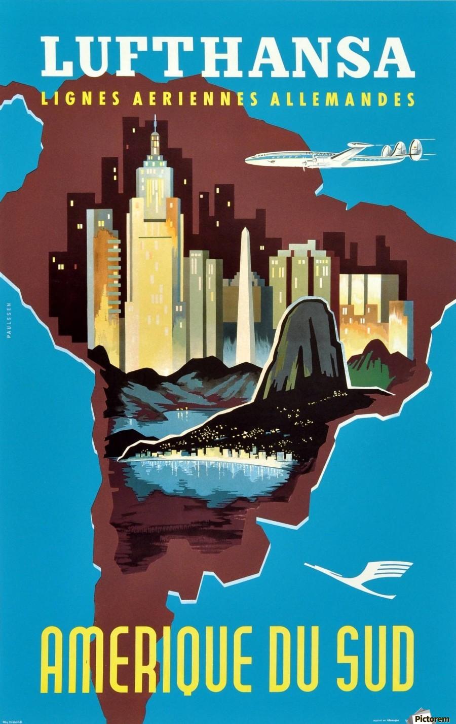 Original Vintage Travel Poster Advertising South America ...