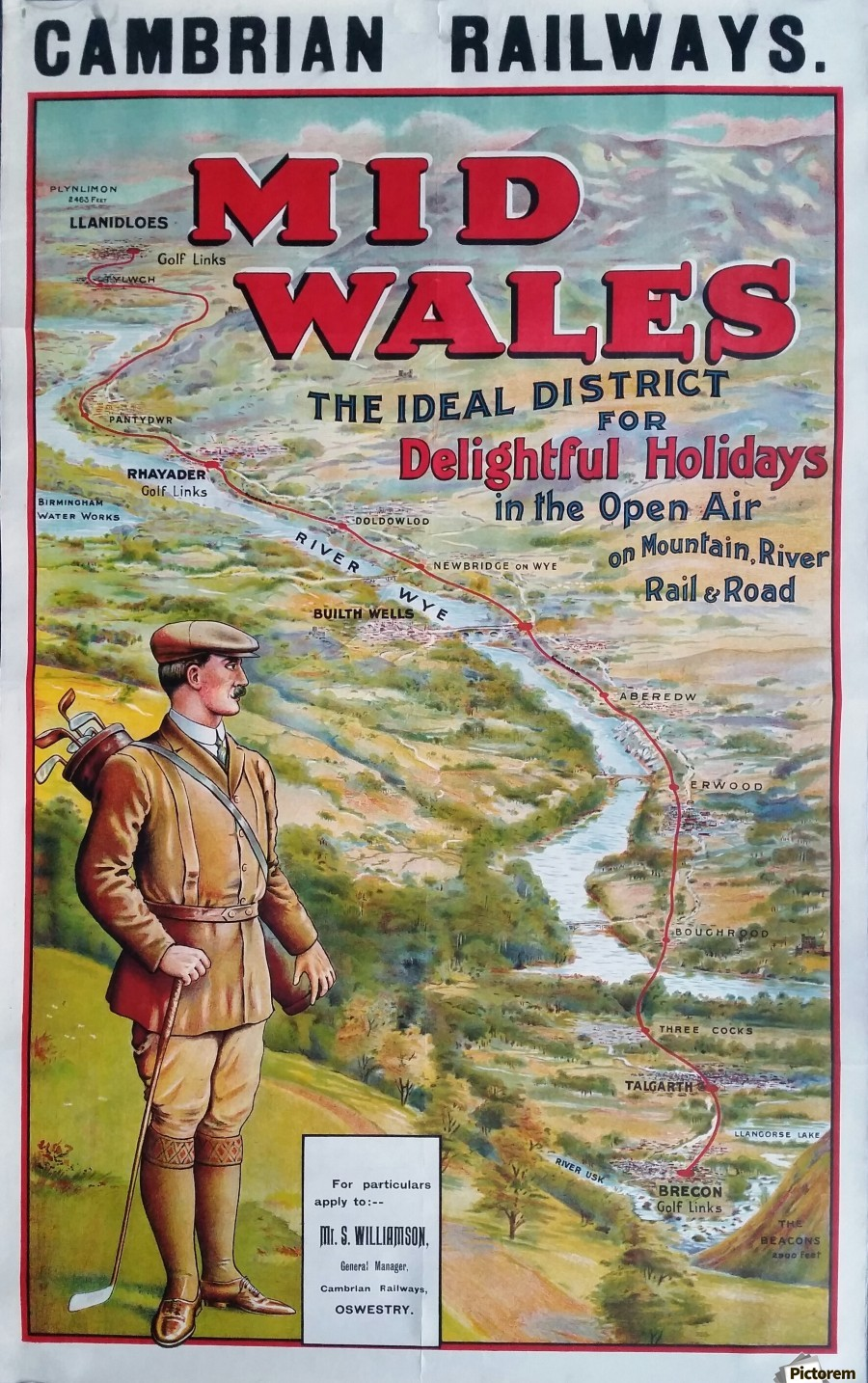Original vintage poster golf Cambrian railways Mid Wales river  Print